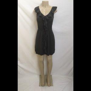 J. Crew Size XS Dark Gray Ruffle Neckline Dress